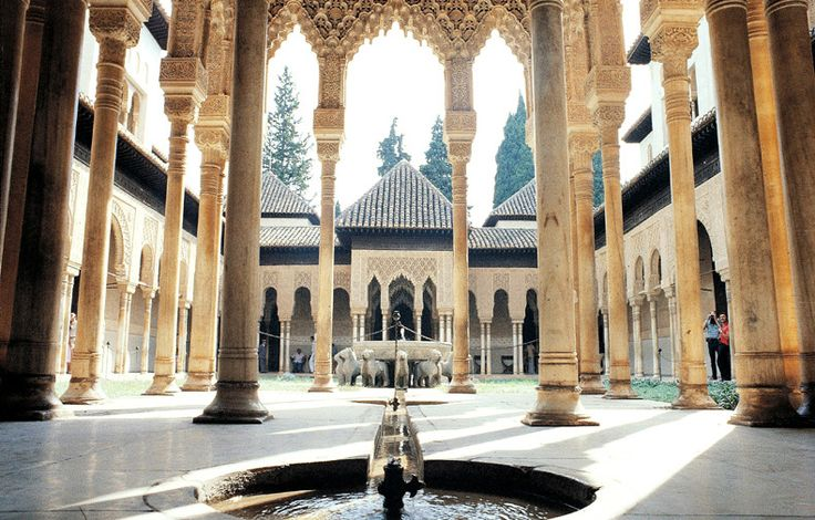 Palace of the Lions. Alhambra, Granada / Spain. One of the two palaces in the Alhambra to have survived from the 14th century. The 12 lions of the fountain in the middle of the courtyard represent the 12 signs of zodiac, the eternity of time. Many of the columns and pillars have no supporting function, therefore, they could be made of soft stone; the decorative purpose could flourish.