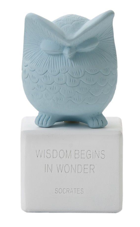 "Owl Small: ""Wisdom begins in wonder"" - Socrates. Material: Ceramine. Color: Vintage Blue."
