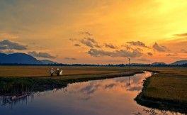 Le coucher du soleil - vue du mont de Nui Sam - Chau Doc