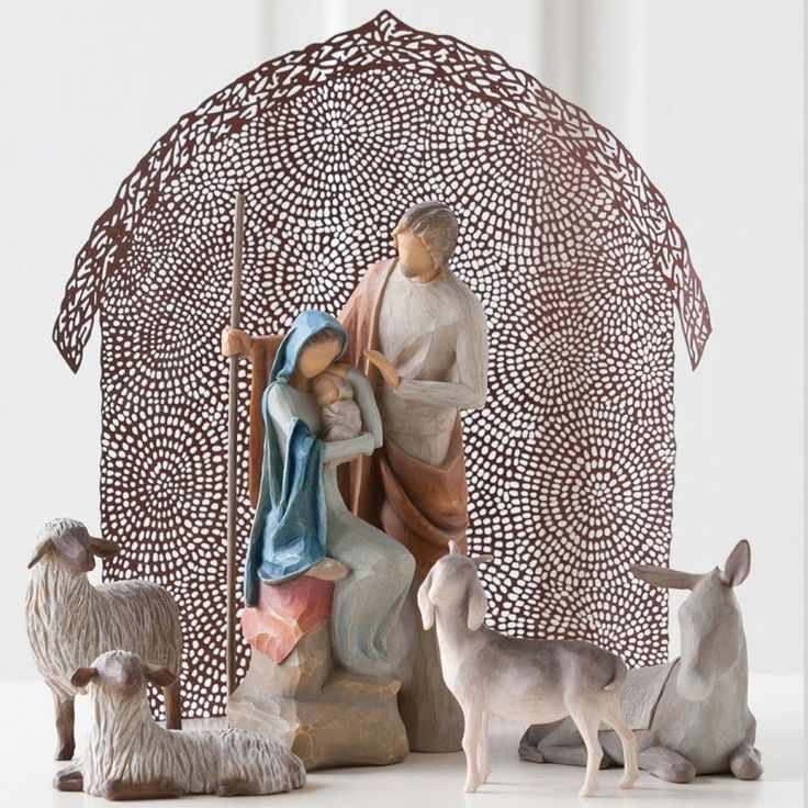 "WillowTree Holy Family Nativity Set Three Pieces: - The Holy Family (Figurine is made of resin and stands 7.5"" tall.) - Sheltering Animals for The Holy Family - Shelter for The Holy Family. I'd love to collect these as our family nativity set."