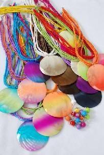 Large Seashell Pendant W Indian Beads Necklace Sets