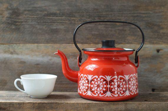 Vintage Arabia Finel Raija Uosikkinen Red Enamel Teapot - Mid Century