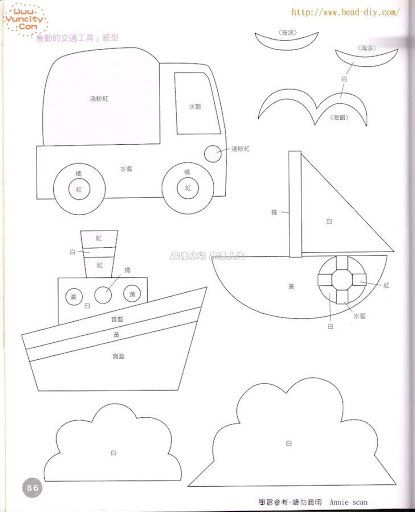 template for a truck, boat and sailboat