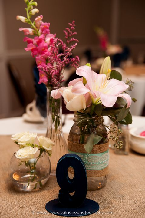 Wedding centerpiece mason jars vases flowers wood for Wood vases for centerpieces