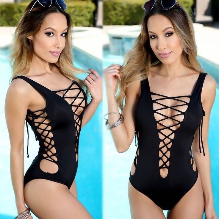 One Piece Bikini LACE Up Monokini Swimsuit Bathing Suit Swimwear bodysuit #Unbrand #Monokini