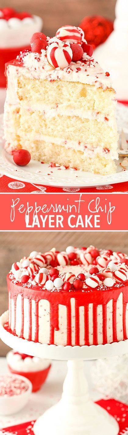 Peppermint Chip Layer Cake! Peppermint cake with peppermint chip frosting and a candy wreath around the top! Perfect for Christmas!