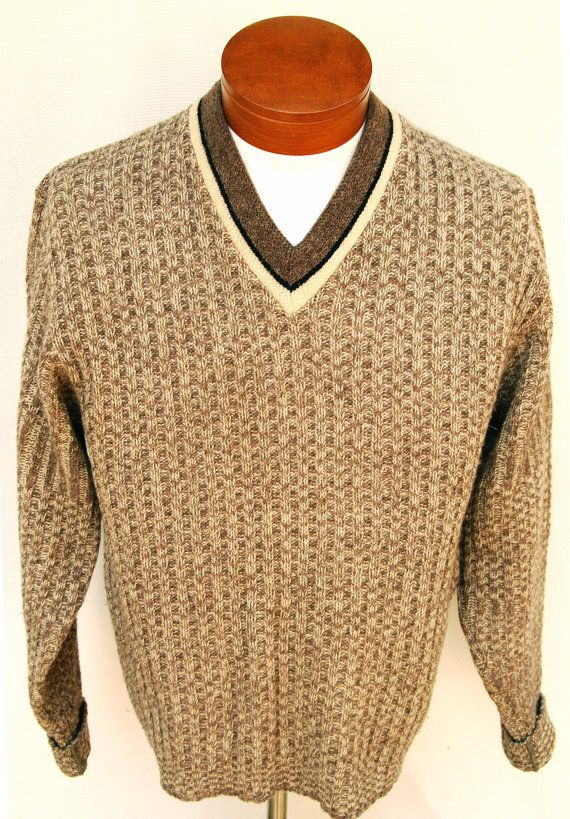 Vtg 50s Mens Wool V-neck Sweater by Pebble Beach by RipCityRetro