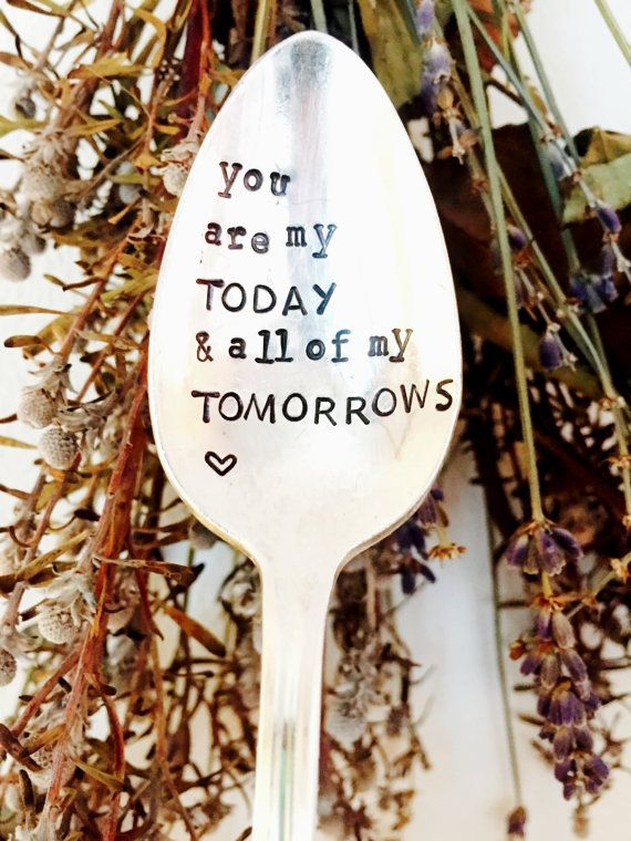 You Are My Today and All Of My Tomorrows Stamped Spoon, Stamped Silver Coffee Spoon, Wedding Gift, Love You Gift, Husband Anniversary Gift  You