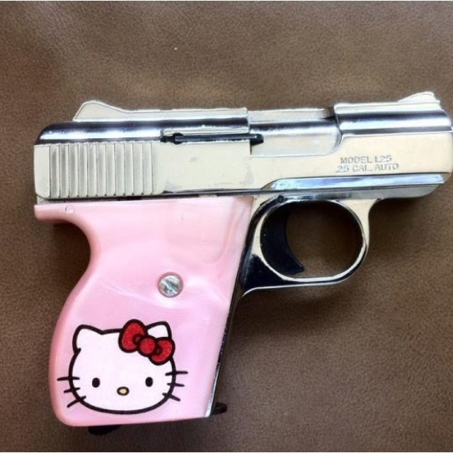 A gift from my husband ❤ Baby browning .25 acp Pink and hello kitty .. Yay!   3b6f7698bbcab