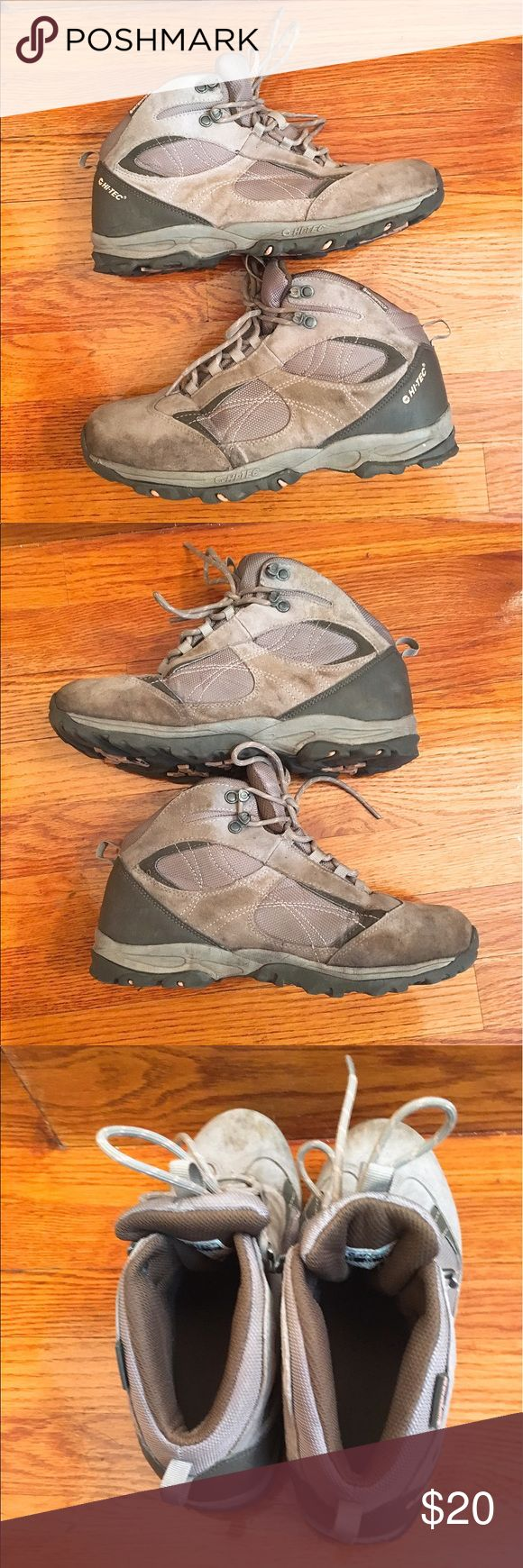 Hi-tec women's hiking boots sz8.5 Hi-tec women's hiking boots sz8.5 - grey with subtle light pink accents. These were worn on a three day hike only (c.30 miles) and have been soaked and washed. Unfortunately due to an injury my left foot is now too large for this boot! Still with tons of traction and wear left. Super comfy and well made boots. Waterproof. Hi-Tec Shoes Athletic Shoes