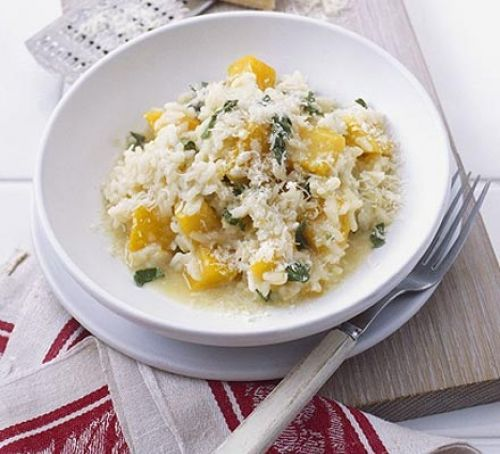 Microwave butternut squash risotto