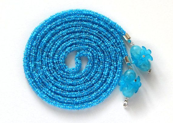 Blue Beaded Lariat with flowers long Necklace Beaded от Amikkaru