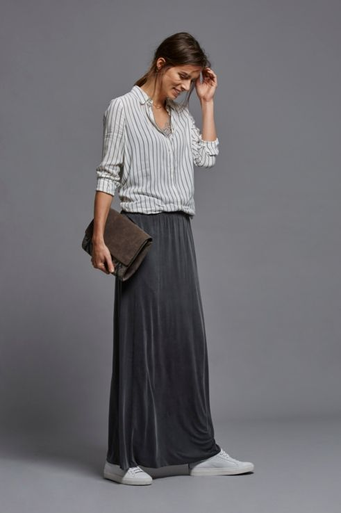 Falda larga de cupro