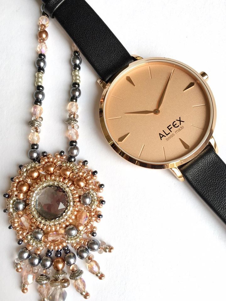 Wow, what a masterpiece! Alfex Swiss made watch with a beads necklace