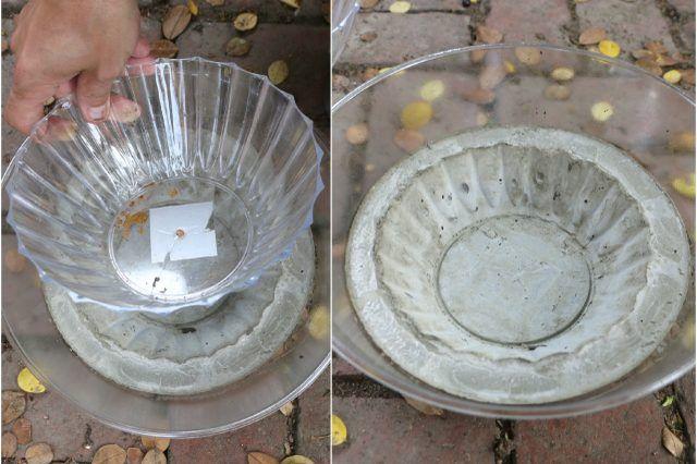 Cement plant pots tutorial plastic molds concrete and craft for Concrete craft molds