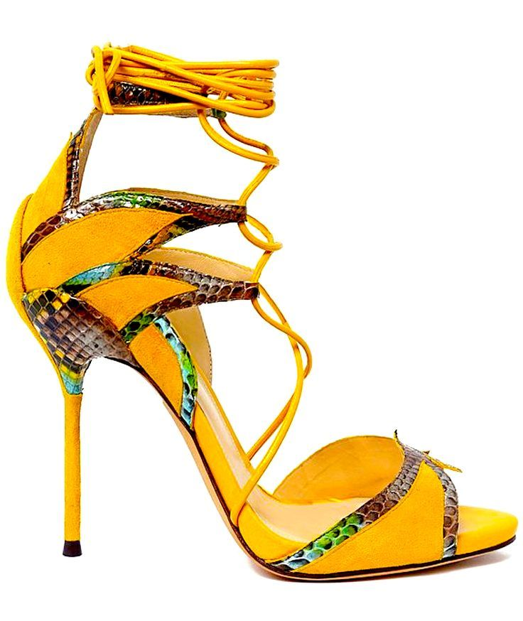 Alexandre Birman orange strappy Sandal with snakeprint Detail Resort 2014 #Shoes