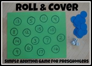 This is a fun counting game for preschoolers that will work on their math skills. give them two dice let them roll them and let them count the dots on the dice and then let them put a dot on the corresponding number.