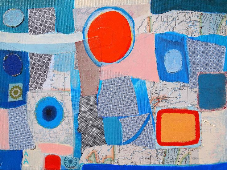 """acrylic and collage on canvas """"Patches of Fog and Sun"""" Alexandra Ackerman"""