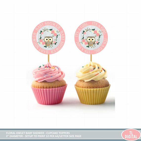 Baby Shower Cupcake Toppers  Owl Toppers  2 diameter