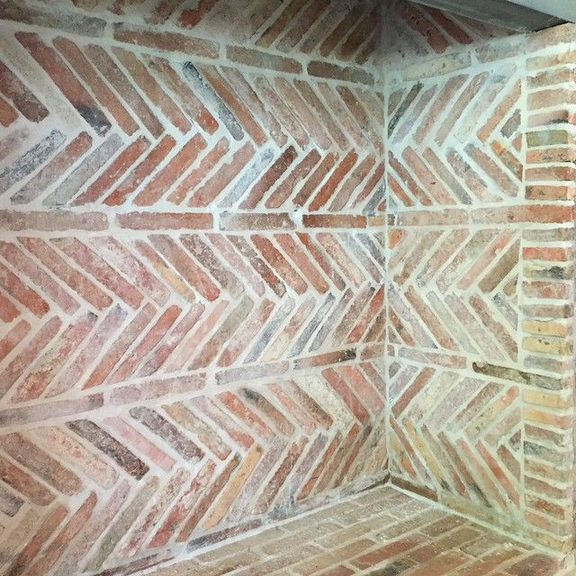 Love seeing our reclaimed French antique firebrick laid in this beautiful…