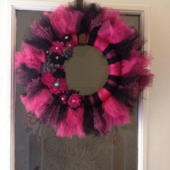 Hot Pink and Black Girly Tutu Wreath on Etsy, $40.00