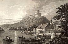 Abzweigung des Ludwig-Donau-Main-Kanals aus der Donau bei Kelheim, Stahlstich (1845) von Alexander Marx