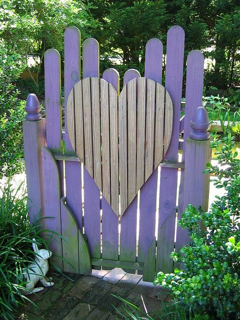 Purple picket gate with heart