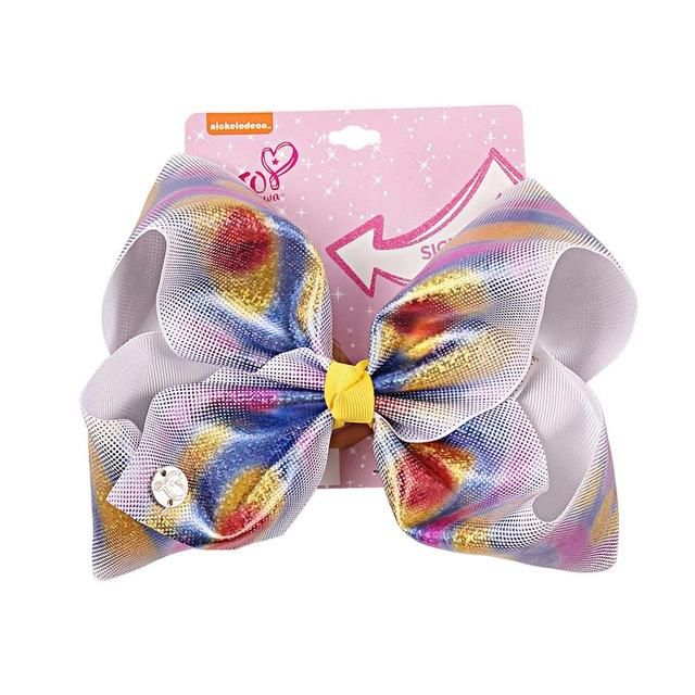 8inch Rainbow Cartoon Bow Hairpins Ribbon Alligator Clip Bowknot Girl Kids Gifts