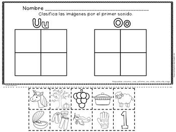 Reconocimiento de las Vocales - La Letra Uu - (Set Four of Five) - Spanish Resource.  A set of 26 pages that focus on Uu as the beginning sound. Compare and contrast vowel sounds from past weeks.