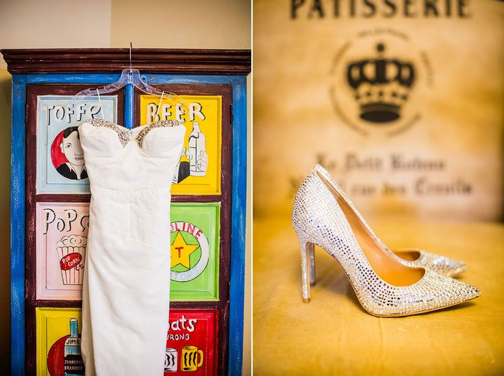 Wedding dress and shoes with diamonds