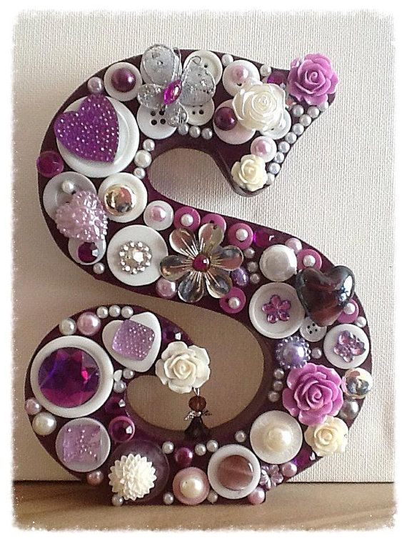 Freestanding Button Embellished Letter by AngelHeartKeepsakes