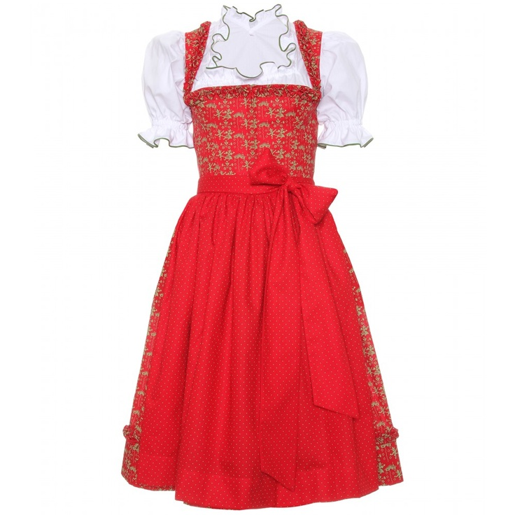 MIEDER DIRNDL WITH RUFFLED BLOUSE AND CONTRAST APRON seen @ www.mytheresa.com