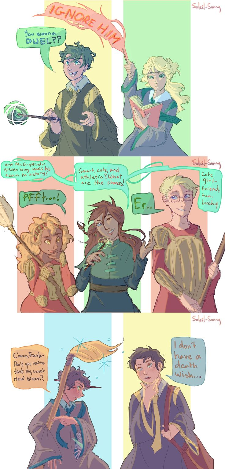 heroes of olympus hogwarts au. Percy and Frank are Hufflepuffs, Annabeth and Piper are Slytherins, Hazel and Jason are Gryffindors, and Leo is Ravenclaw, and yall can fight me on this