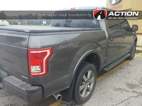 Ford F-150 with installed Solid Fold 2.0 tonneau cover by Extang, bed liner by Penda, and mudguards by Husky Liners  Installed at our store in London, ON #ProfessionalGradeInstallation