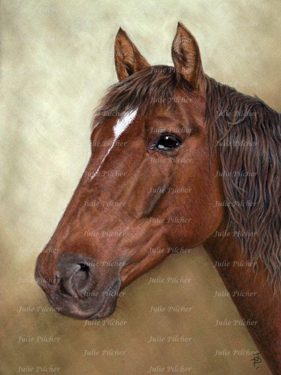 Instant Digital Download  6 x 8 Horse  Art Print