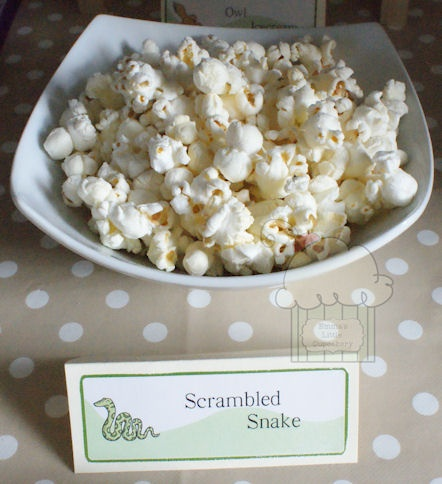 Gruffalo party food - scrambled snake - popcorn