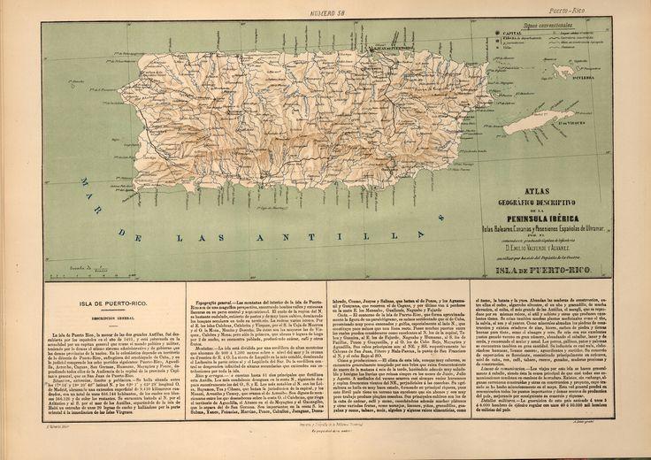 Isla de Puerto Rico-Atlas geográfico descriptivo de la Península Ibérica-Emilio Valverde-1880 | www.odisea2008.com Cortesía de: Biblioteca Virtual del Patrimonio Bibliográfico Referencia post: www.odisea2008.com/2012/10/mapas-geograficos-espanoles-an...