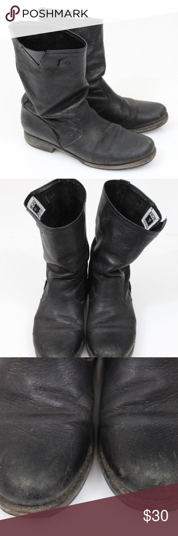 FRYE Veronica 8 Black WORN Distressed Slouch Frye Women's size 8 These show A LOT of wear. They are the Veronica Slouch Boot but the straps were cut off. That being said, they show damage all over and have a very distressed look. Please see photos for best idea of condition Frye Shoes Ankle Boots & Booties