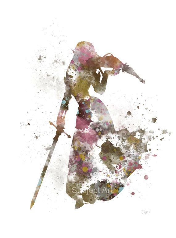 Ilustración de la impresión del arte de la Princesa Zelda, juegos, Legend of Zelda, decoración casera, arte de la pared
