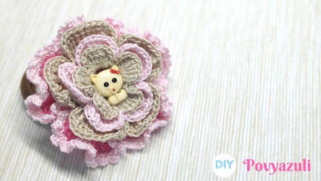 DIY Crochet and Knitting Povyazuli: [Crochet] How to Crochet a Flower Hairband.