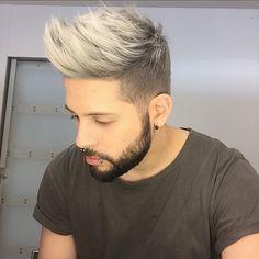 Mens Silver double process. Silver hair. White hair. Gray hair. Platinum hair. Bumble and bumble
