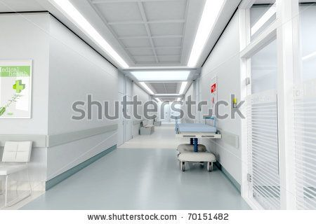 3D rendering of a hospital interior - stock photo