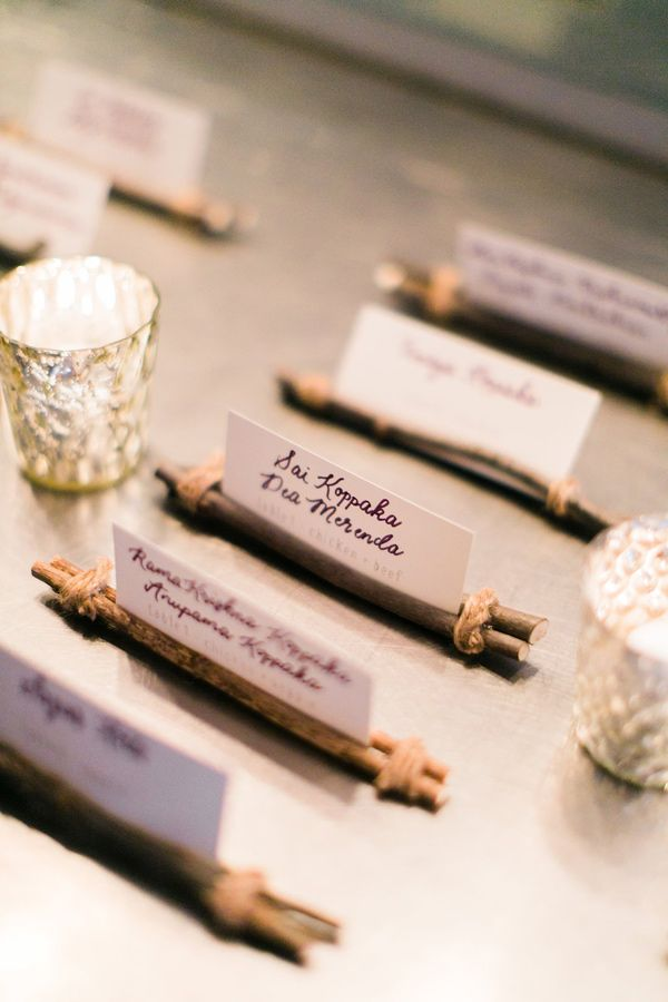 woodsy escort cards - photo by Artistrie Co http://ruffledblog.com/modern-whimsical-wedding