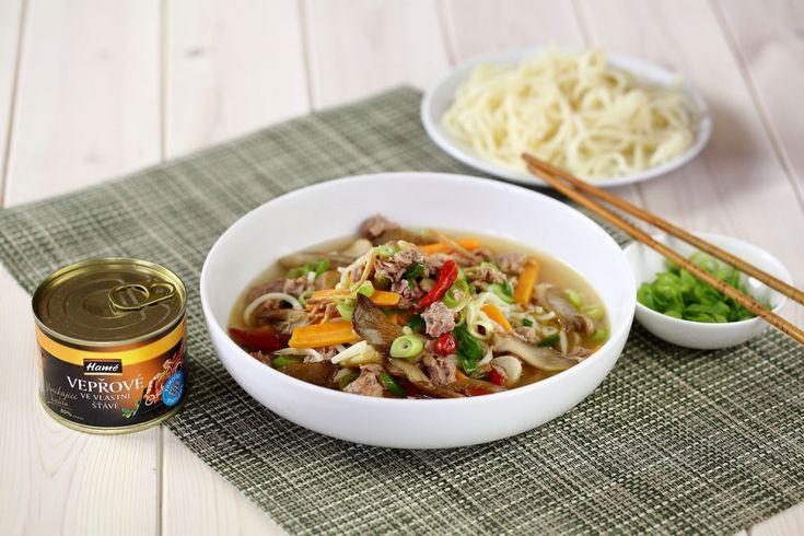Pikantní polévka shlívou ústřičnou a vepřovým masem