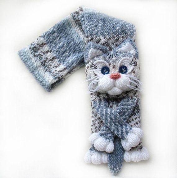 Hecho punto bufanda de gato bufanda hecha punto bufanda