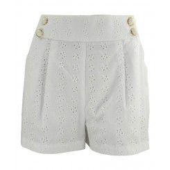 Jane Norman White Anglais Shorts Front Pleats & Pockets Button Detail