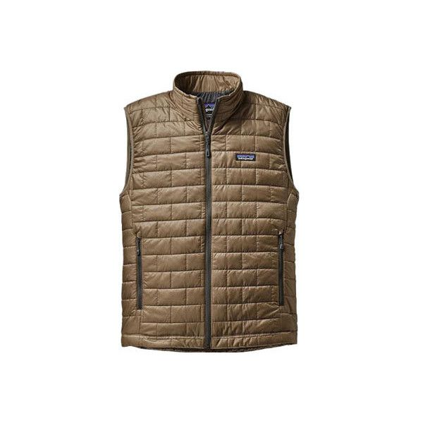Men's Patagonia Nano Puff Brick Quilted Vest - Ash Tan Puffy Jackets ($149) ❤ liked on Polyvore featuring men's fashion, men's clothing, men's outerwear, men's vests, tan, mens puffer jacket, mens tan vest, mens lightweight vest, mens zipper vest and mens zip vest