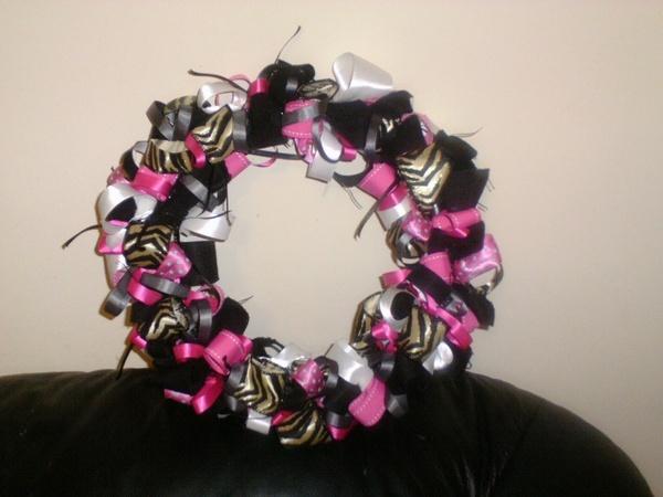 Hot Pink Zebra Print WreathDiy Ideas, Pink Zebras, Ribbons Wreaths, Prints Ribbons, Black Zebras, Hot Pink, Diy Craftscloth, Zebras Prints, Prints Wreaths