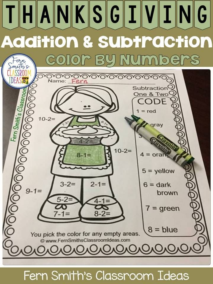 TEN Thanksgiving Feast Color Your Answers Worksheets for Addition and Subtraction Thanksgiving Fun. This bundle has separate print and go worksheets for Addition and Subtraction, answer keys included. #FernSmithsClassroomIdeas