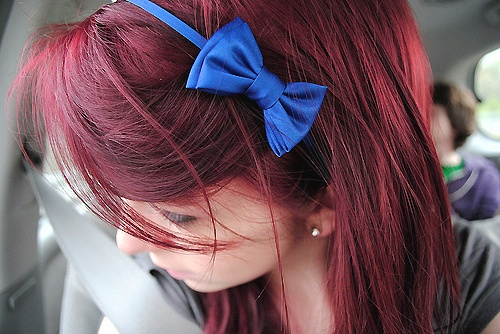 blue bowBows Headbands, Blue Bows, Hair Colors, Blondes Moments, Red Hair, Hair Style, Hair Bows, Redhair, Red Head